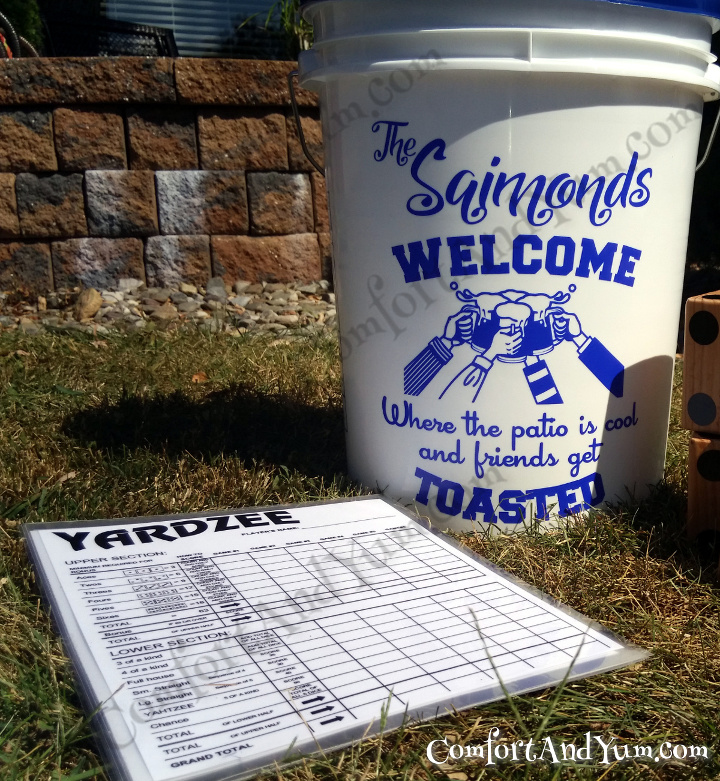 Personalized Bucket Decal Sets with Laminated Scorecards AVAILABLE again!! For YARDZEE   FARKLE   Other Outdoor Games